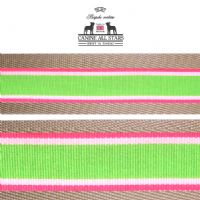 MARTINGALE DOG COLLAR - TROPICAL SUMMER STRIPES WATERMELON (RIBBON 25mm)